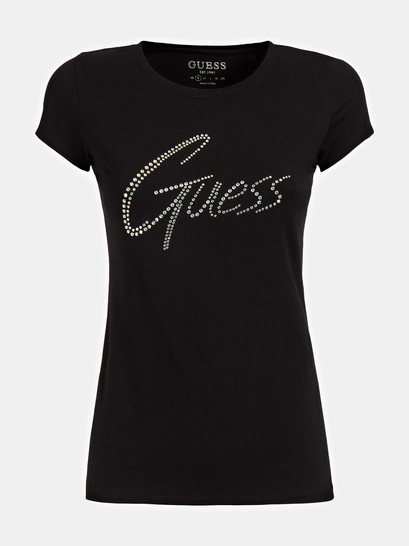 T-SHIRT LOGO STRASS image number 3
