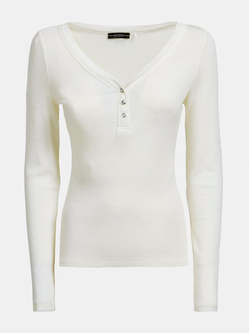 BUTTONS HENLEY NECK TOP image number 3