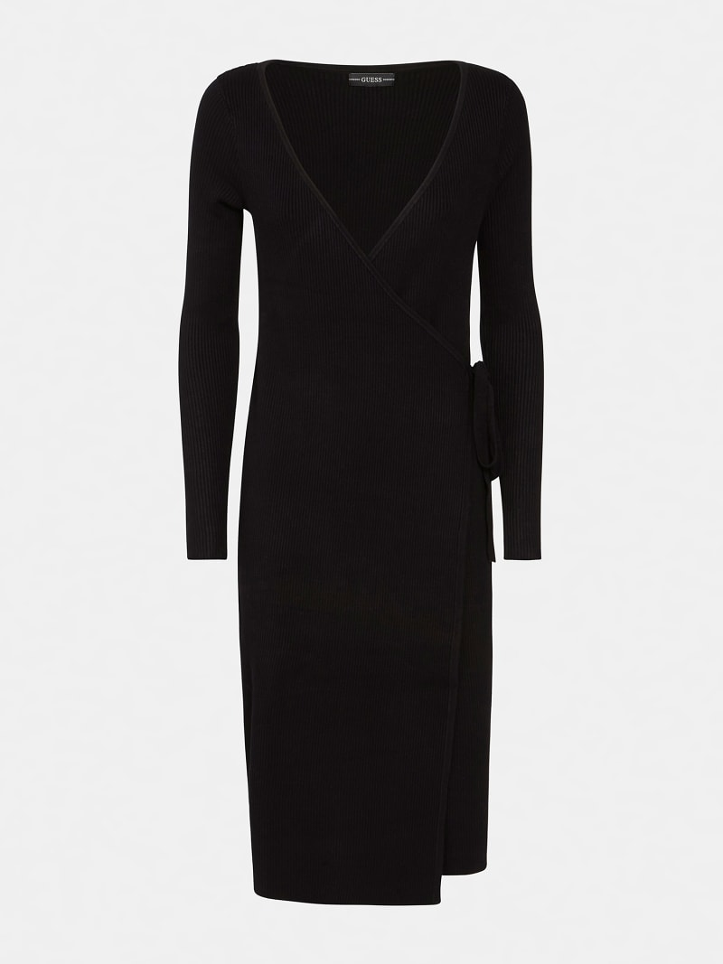 RIBBED WRAPOVER DRESS image number 4