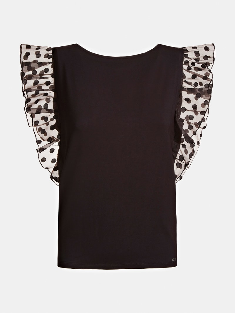 CONTRAST FABRIC JERSEY TOP image number 3