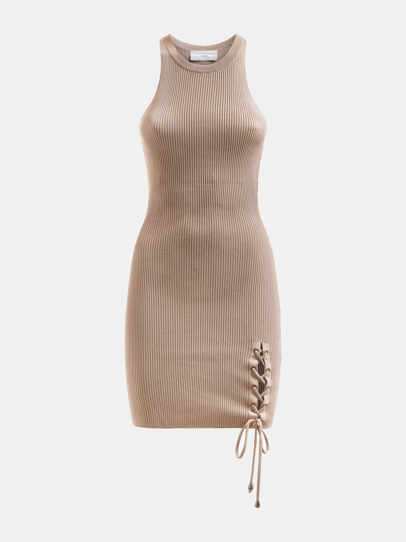 LACE UP RIB DRESS image number 3
