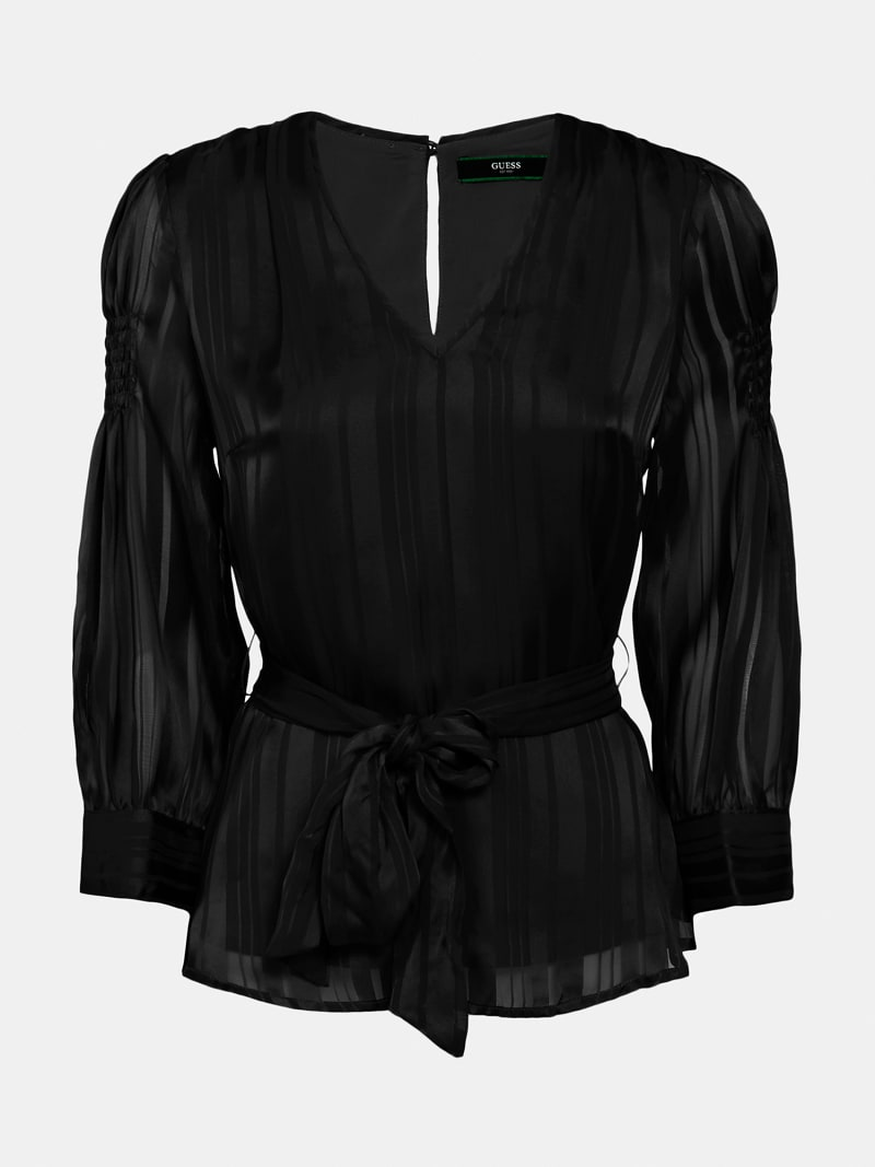 CHIFFON BELTED BLOUSE image number 3