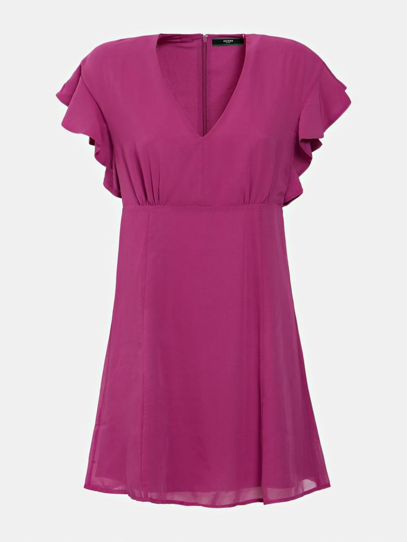 V-NECK RUFFLE DRESS image number 2