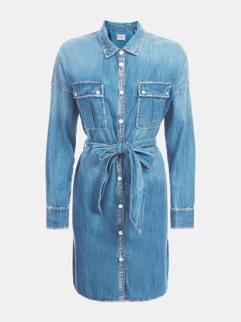RELAXED FIT DENIM DRESS image number 2