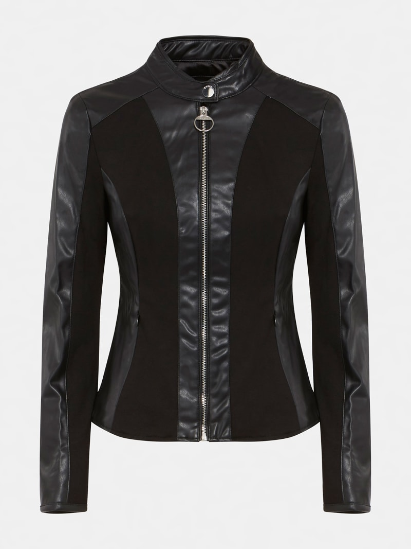 FAUX LEATHER CONTRAST FABRIC JACKET image number 3