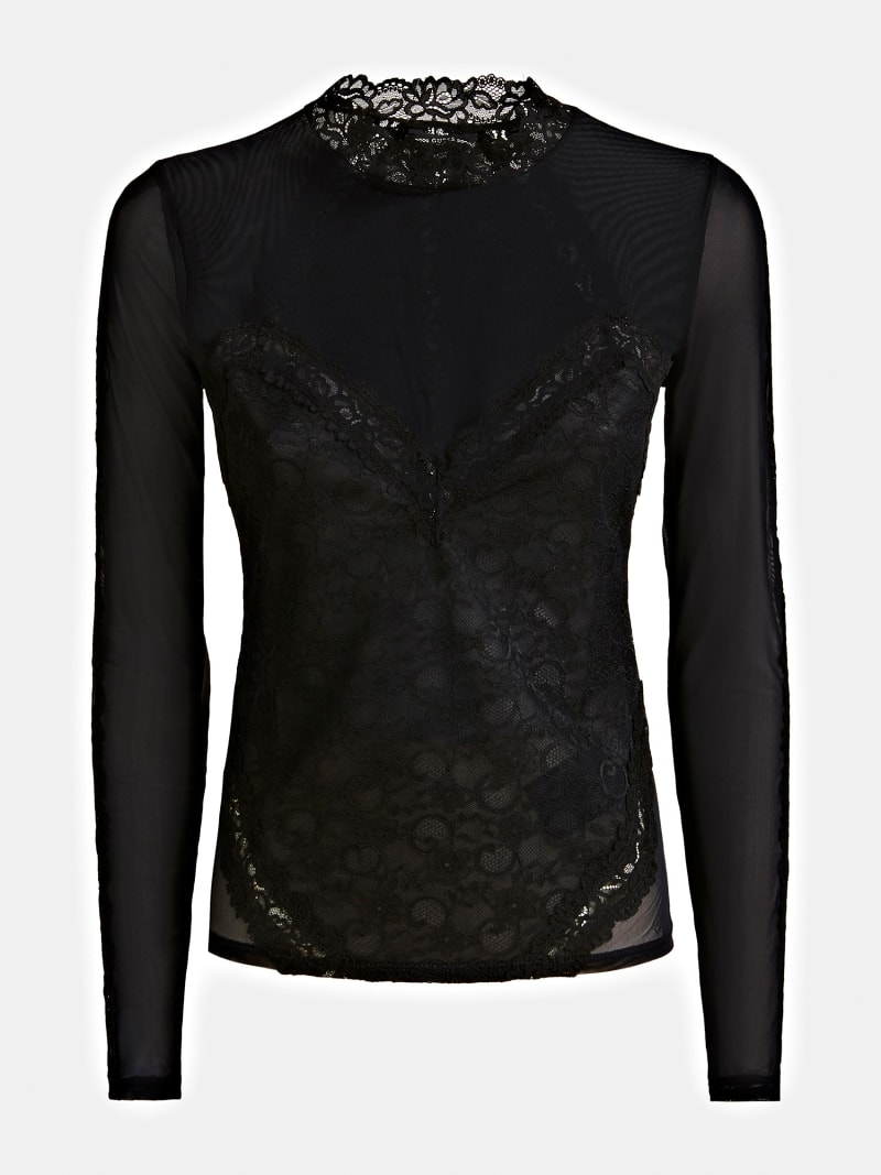 TOP WITH LACE DETAILS image number 4