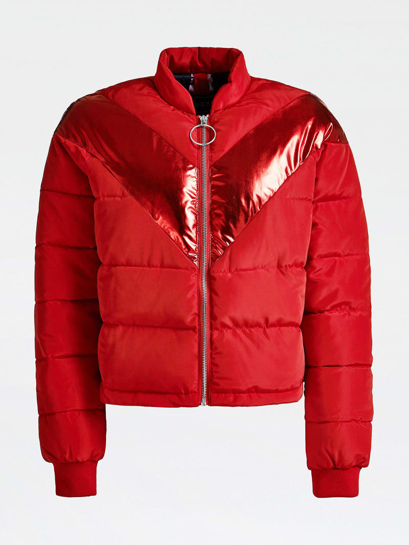 LAMINATED-LOOK STRIPE PADDED JACKET image number 3