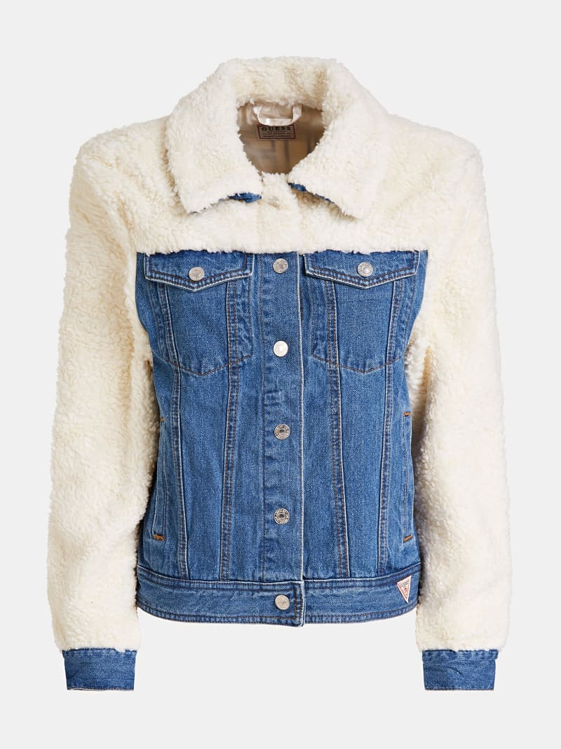 DENIM AND FAUX FUR JACKET image number 5
