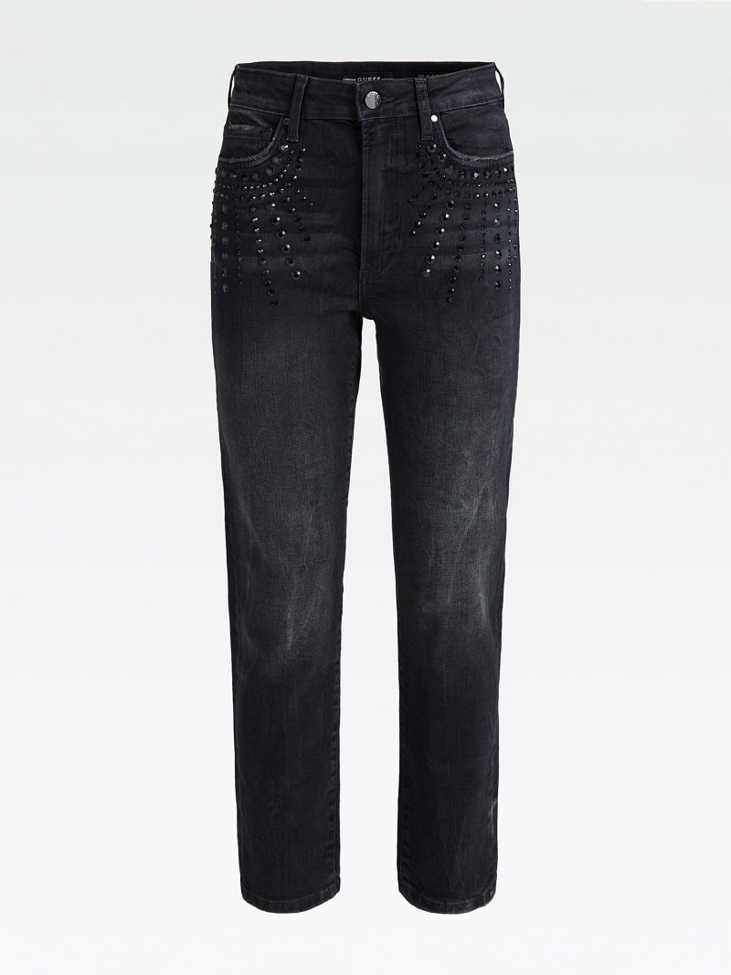 USED-LOOK JEANS WITH STUDS image number 3