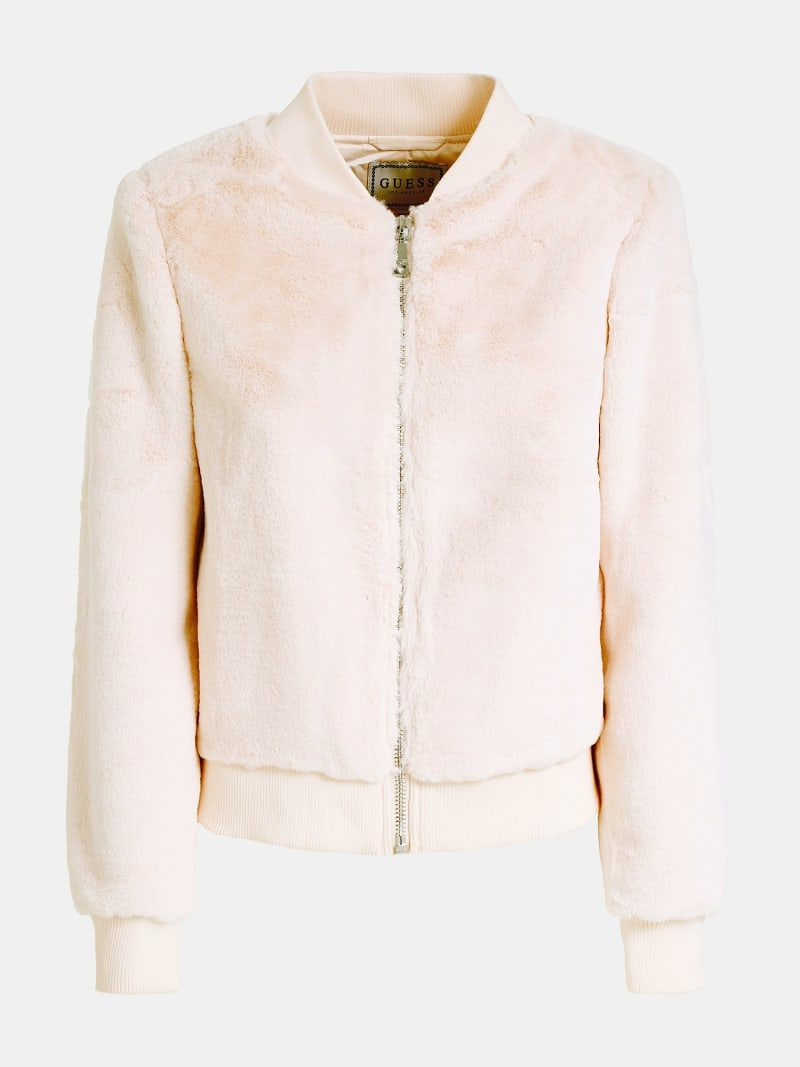 FAUX FUR BOMBER JACKET image number 3