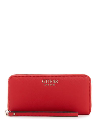 NWT GUESS TAPIA WALLET Red Logo Fold-Over Clutch Purse GENUINE