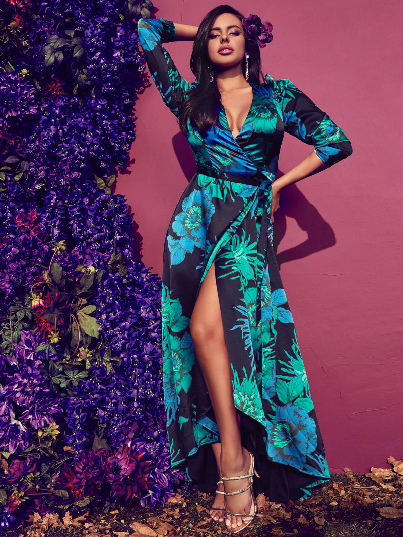 Electric Bloom Maxi Wrap Dress