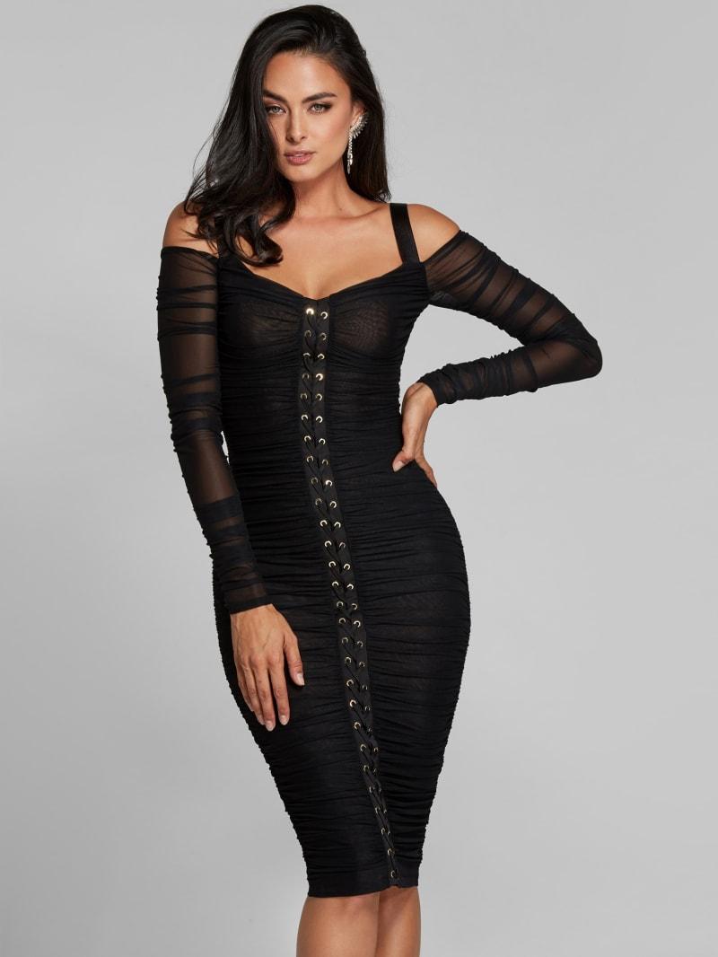 Maja Lace-Up Ruched Mesh Dress