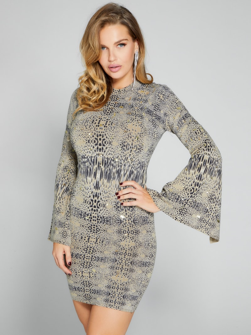 Mixed Message Animal Print Sweater Dress