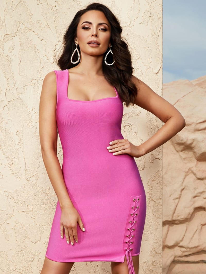 Naomi Lace-Up Bandage Dress