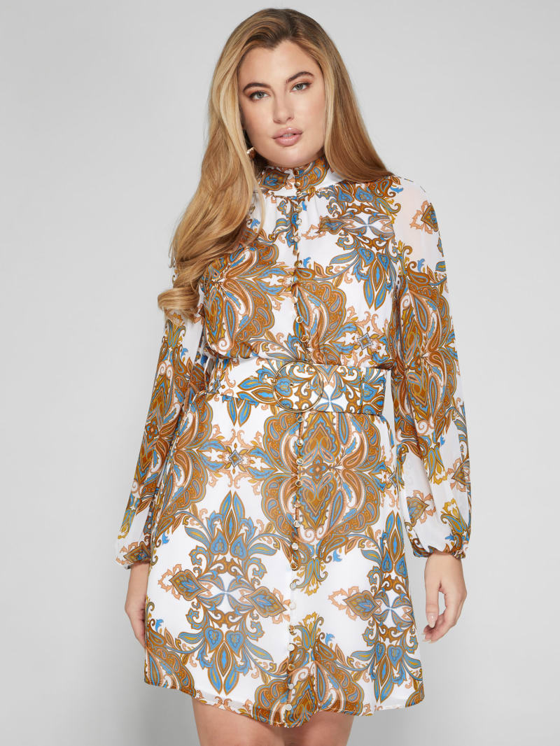 Euphoria Belted Paisley Dress