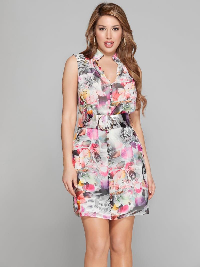Floral Flux Belted Dress