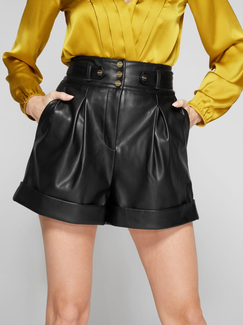 Tetra Faux-Leather Pleated Shorts