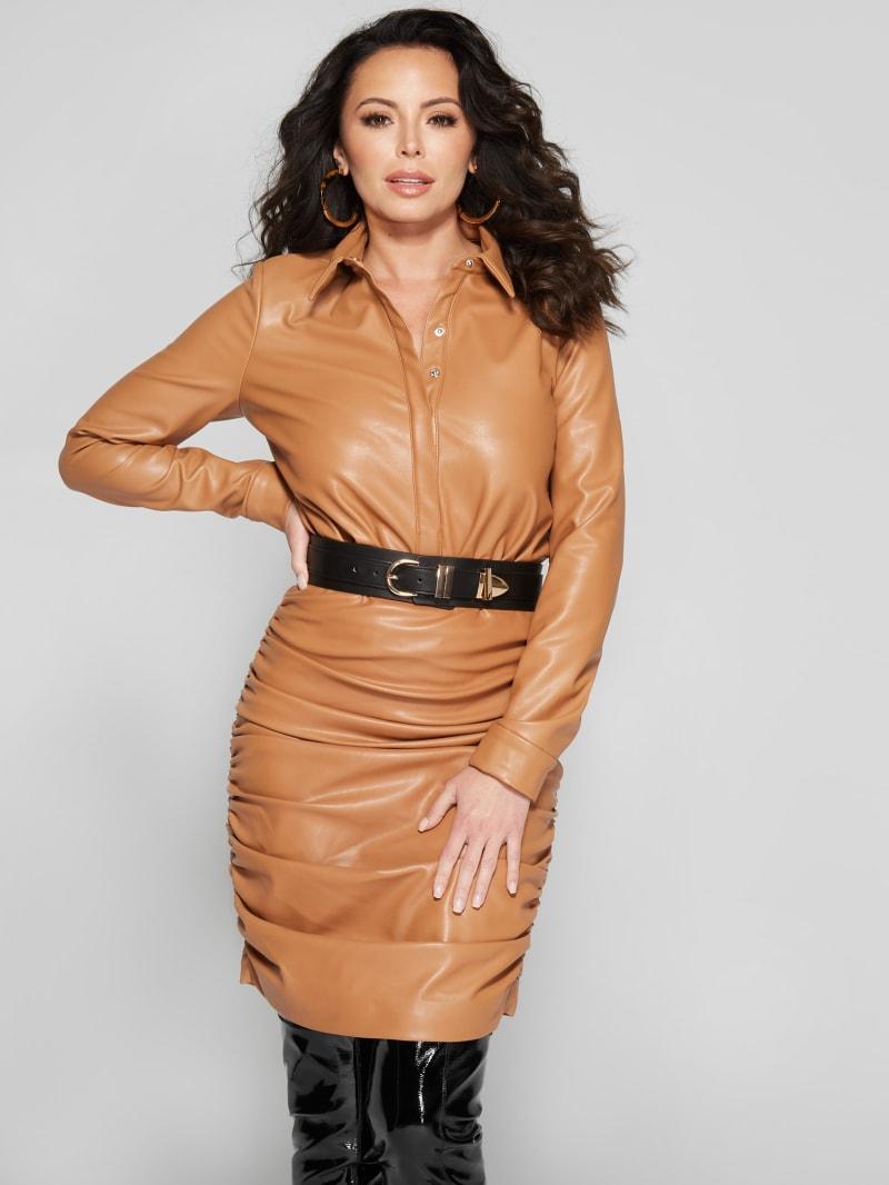 Carmello Faux-Leather Shirt Bodysuit