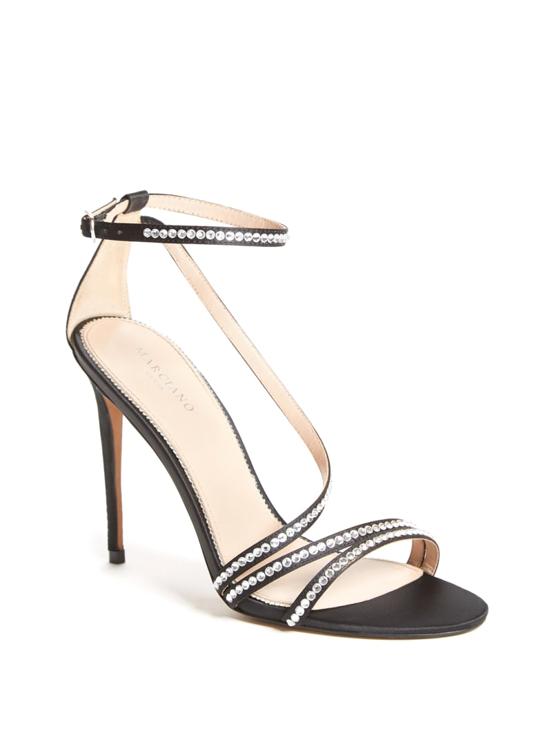 Satin Rhinestone Stiletto Sandal