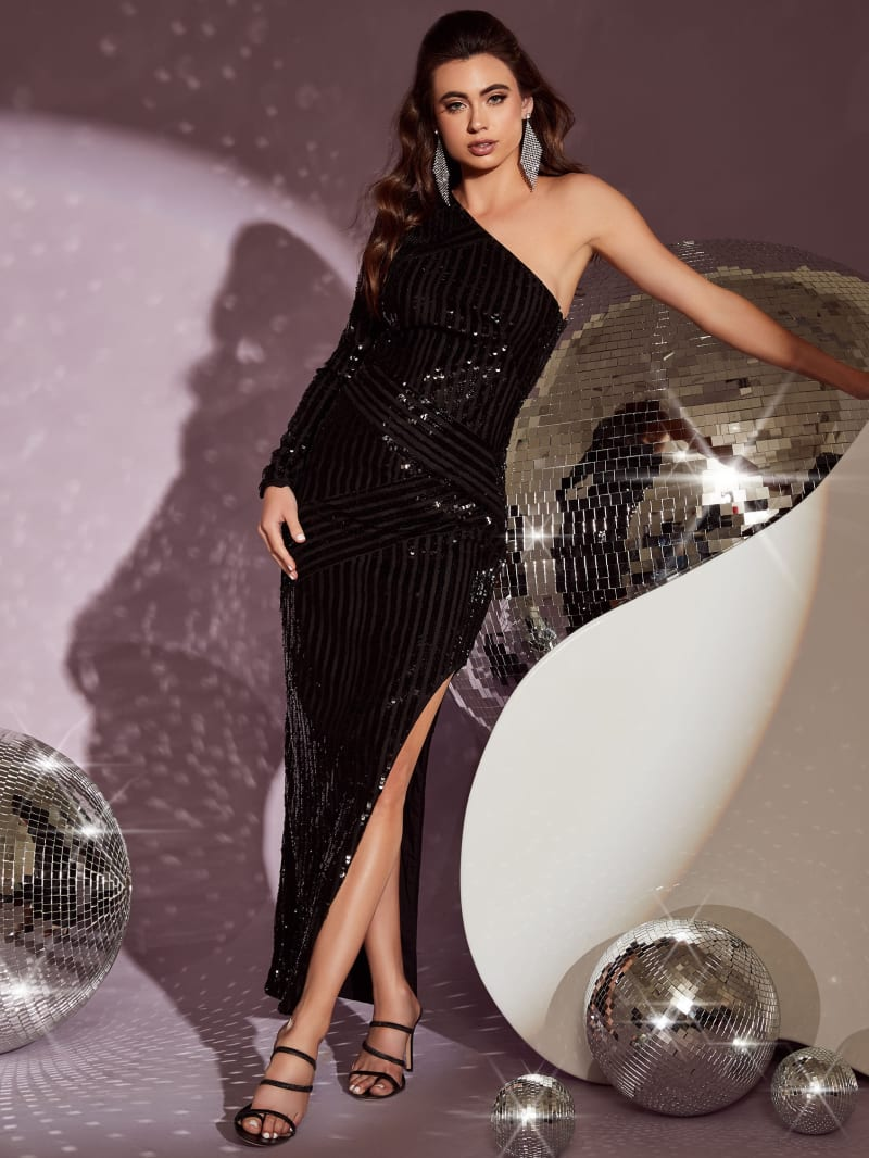 Galexia One-Shoulder Sequin Gown