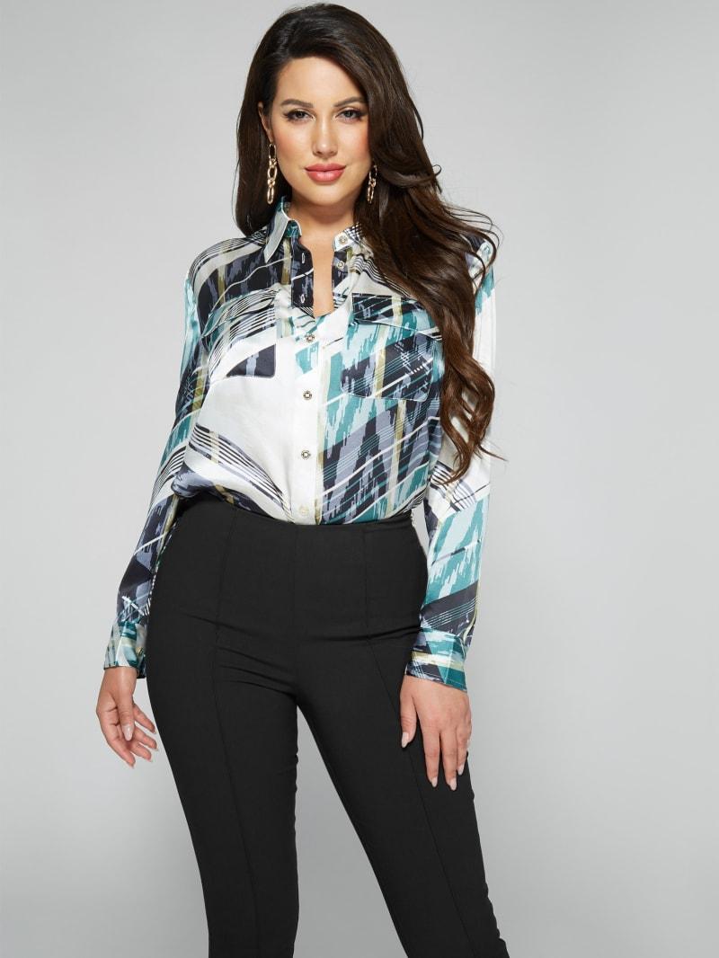 Linear Ikat Button Up Silk Blouse