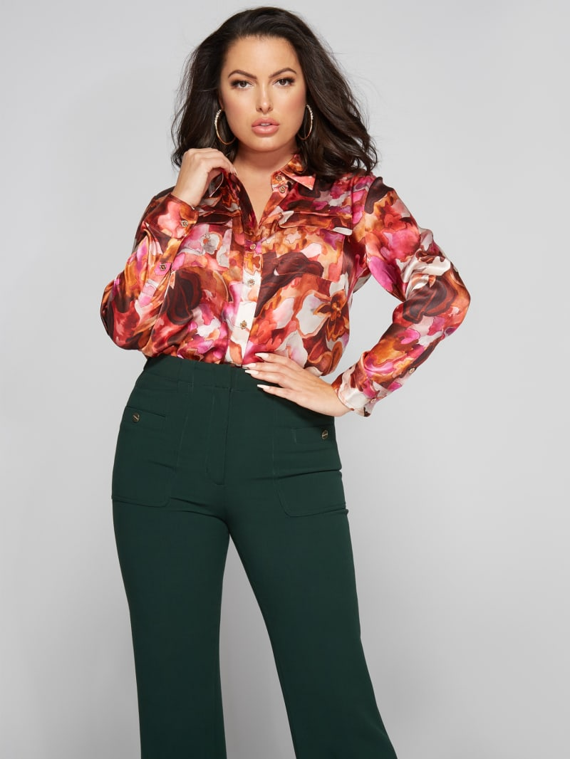 Abstract Orchid Silk  Blouse