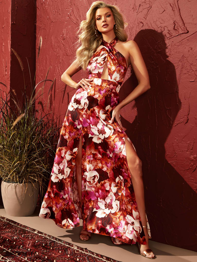 Abstract Orchid Halter Dress