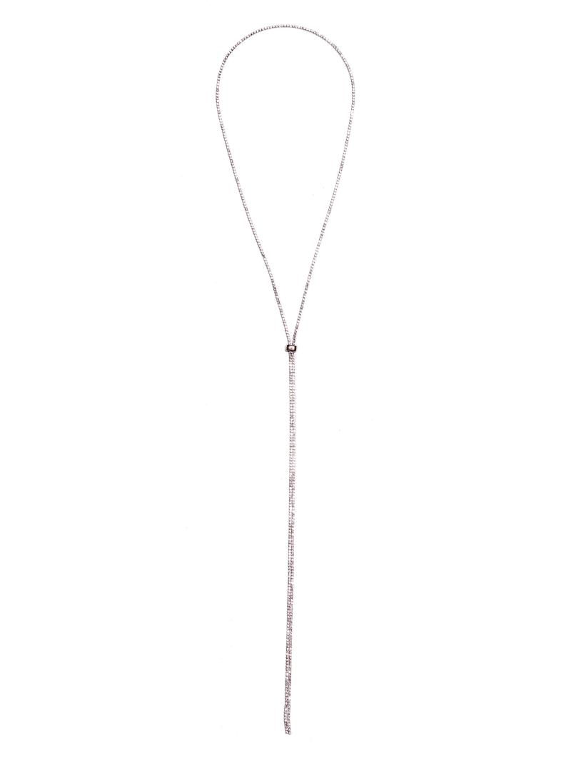 Rose Gold-Tone Rhinestone Bolo Necklace