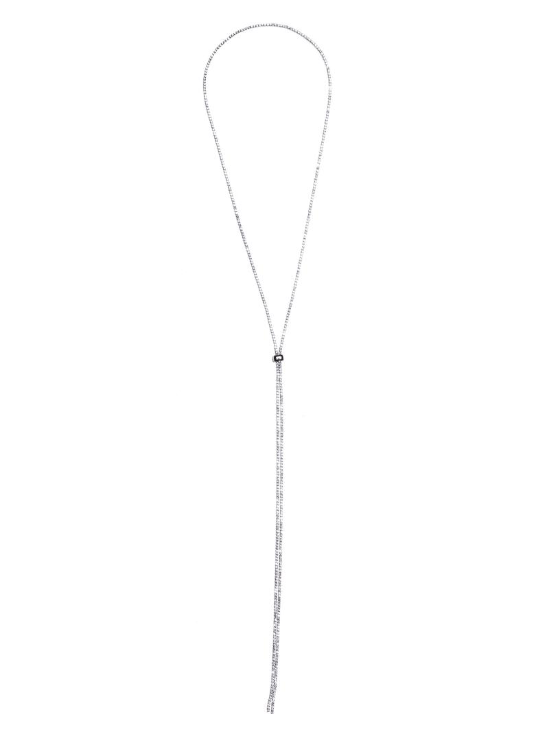 Silver-Tone Rhinestone Bolo Necklace