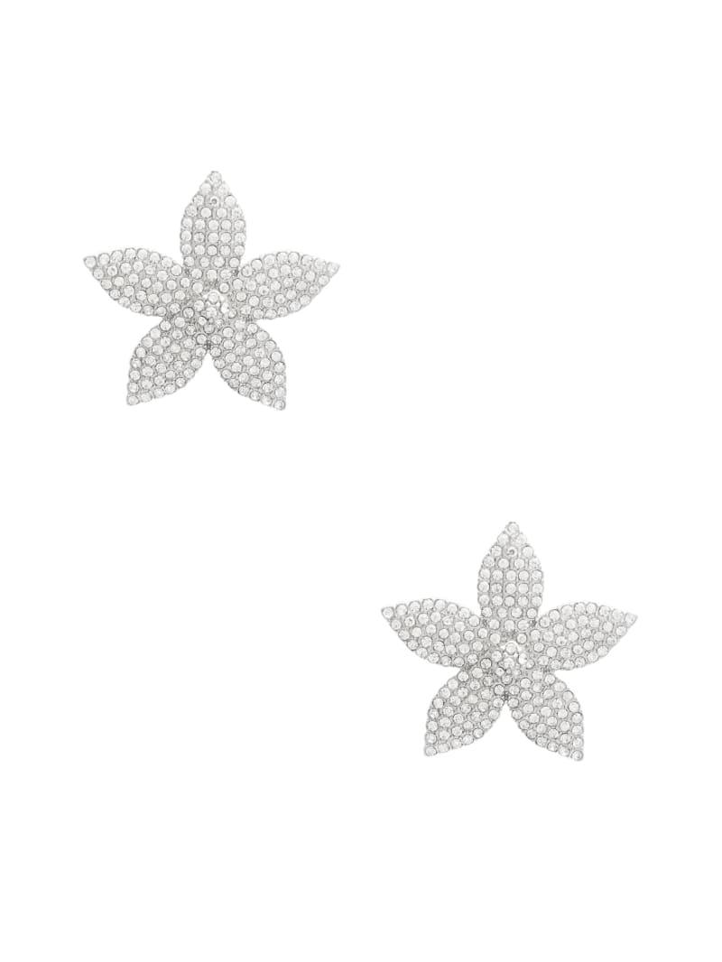 Silver-Tone Flower Crystal Earring