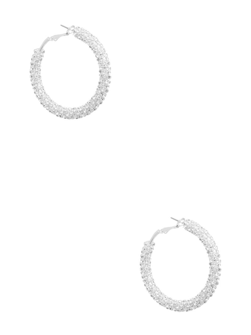 Silver-Tone Rhinestone Hoop Earring