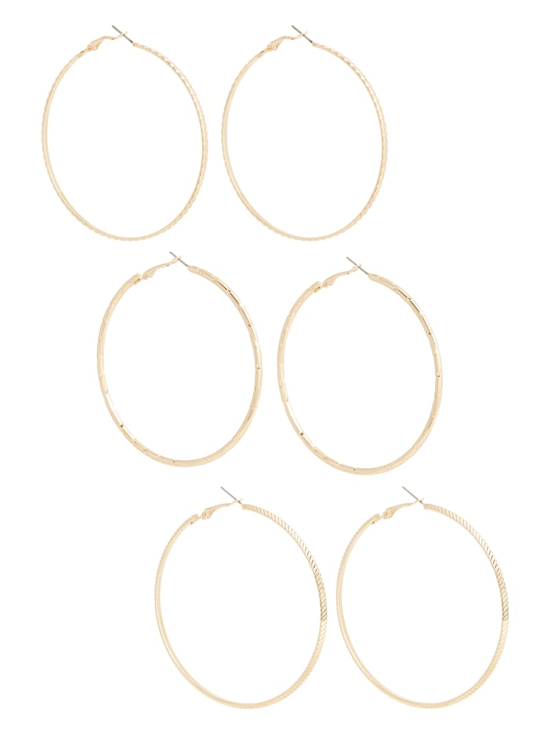 Textured Gold-Tone Hoop Earrings Set
