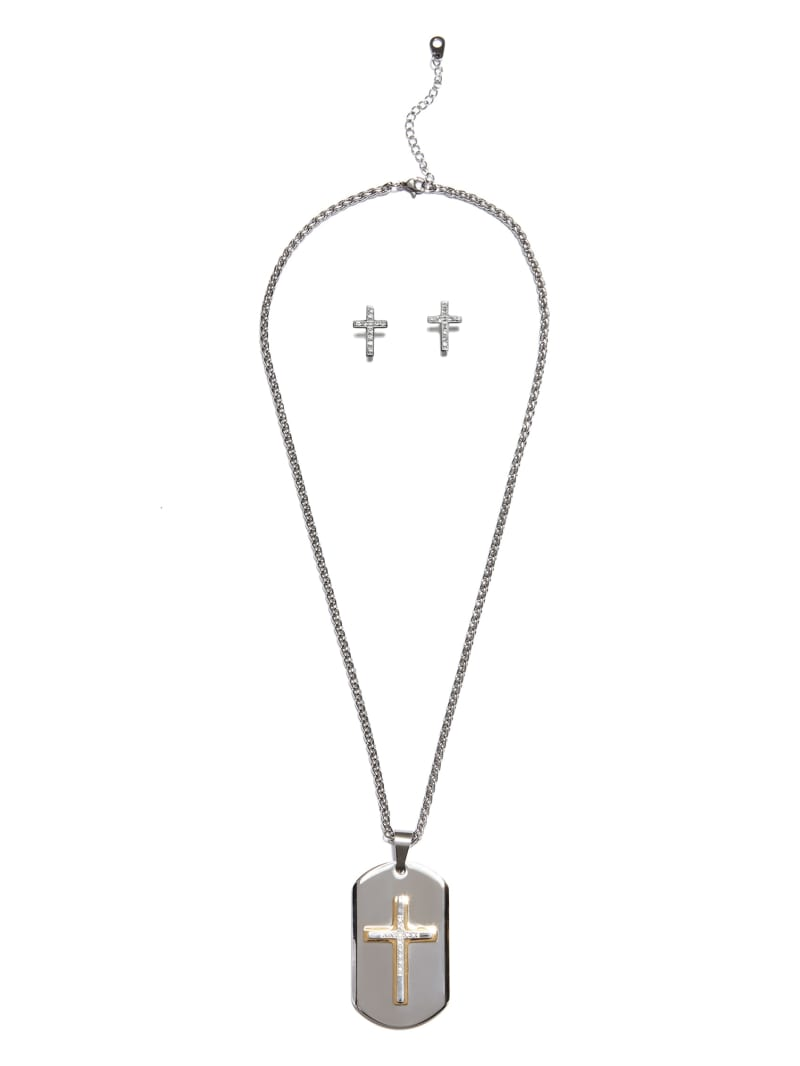 Silver-Tone Cross Necklace and Stud Earrings Set