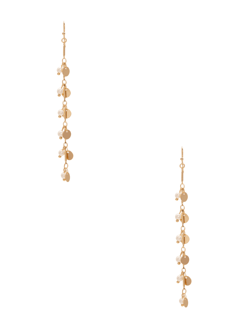 Gold-Tone Disc And Pearl Linear Earrings