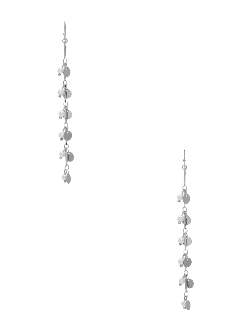 Silver-Tone Disc And Pearl Linear Earrings