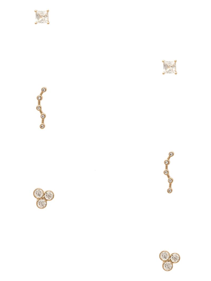 Multi-Tone Rhinestone Stud Earrings Set