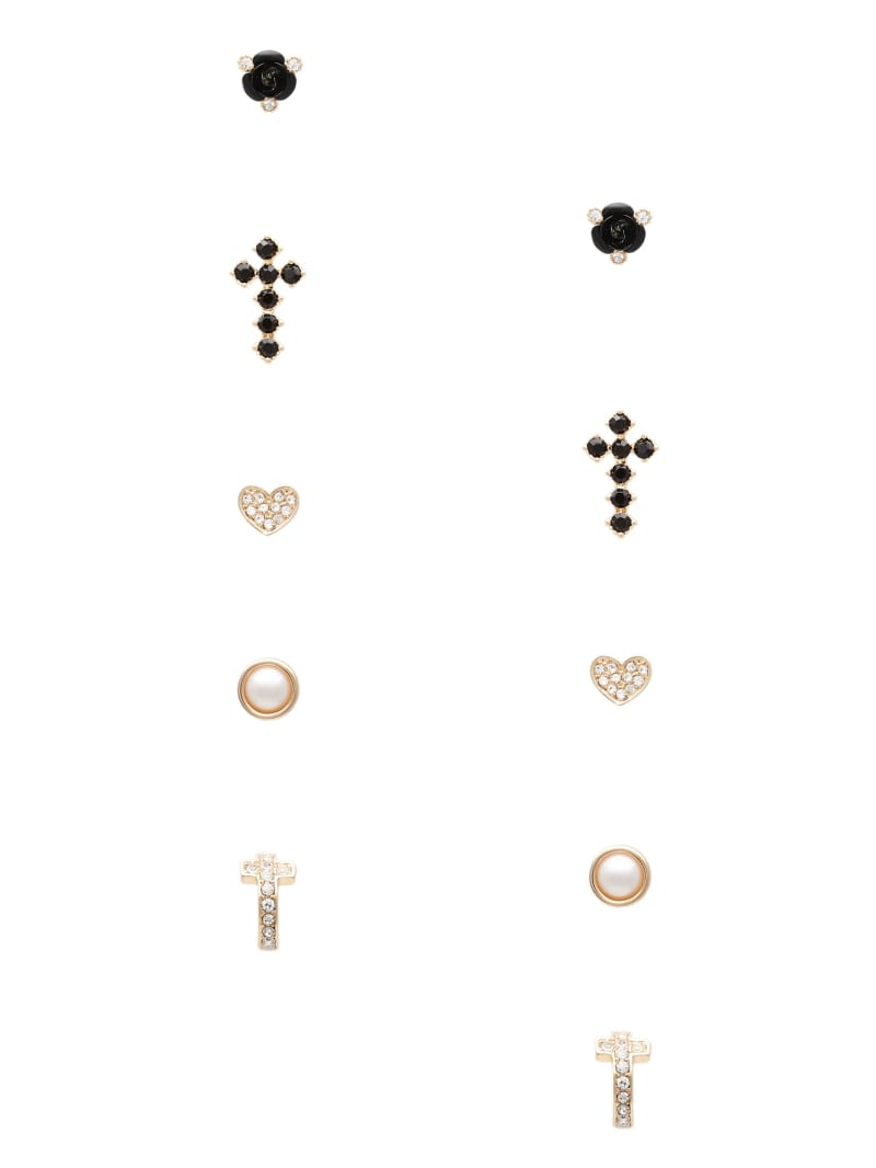 Gold-Tone Cross Stud Earrings Set