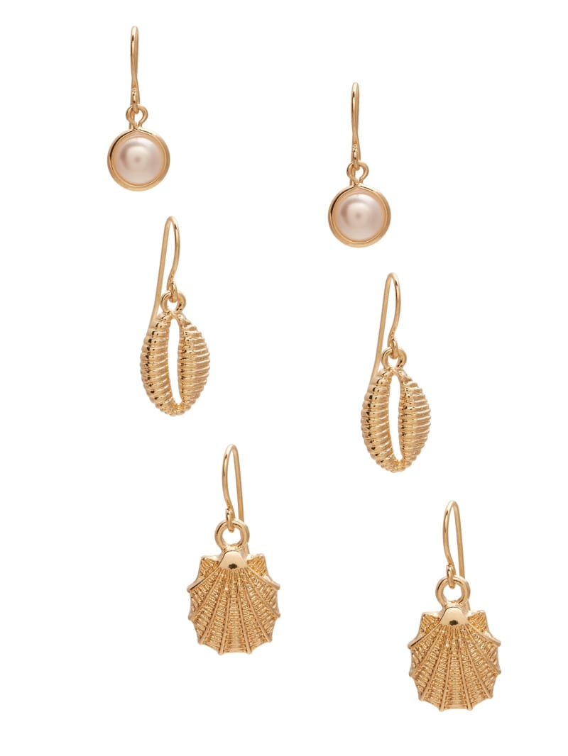 Gold-Tone Shell And Pearl Earrings Set