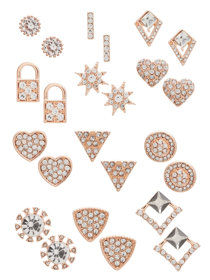 CZ Heart Stud Earrings Set