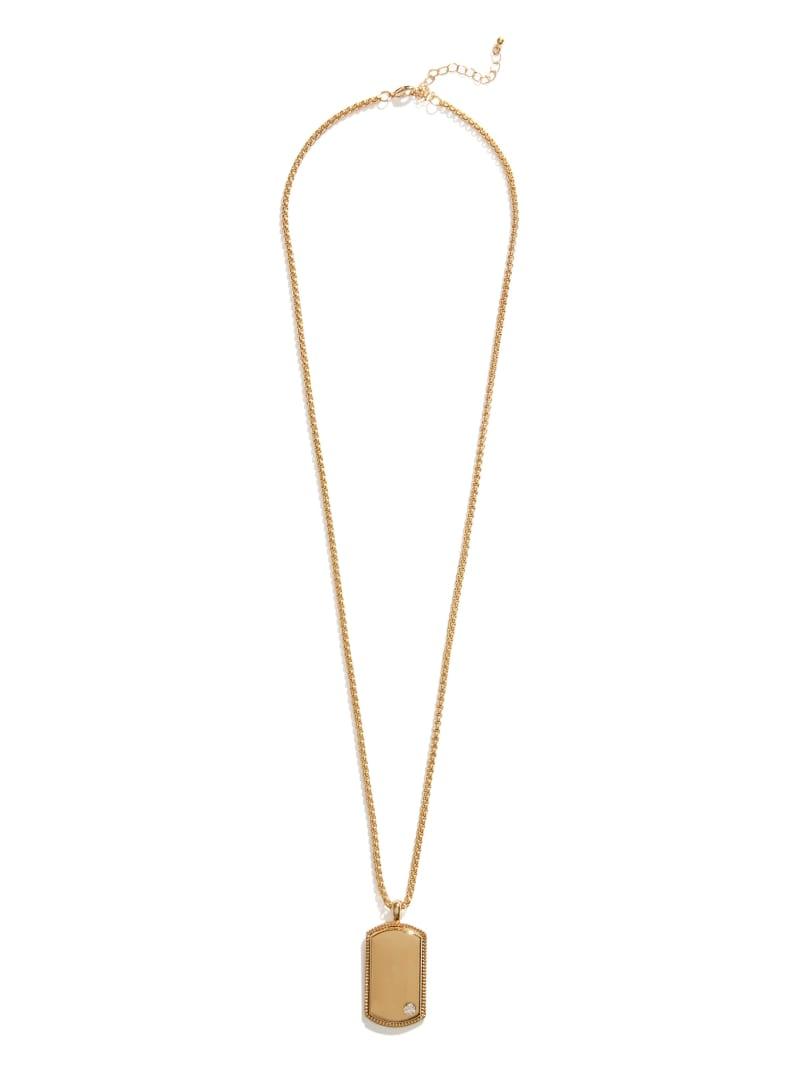Gold-Tone Embellished Dog Tag Necklace