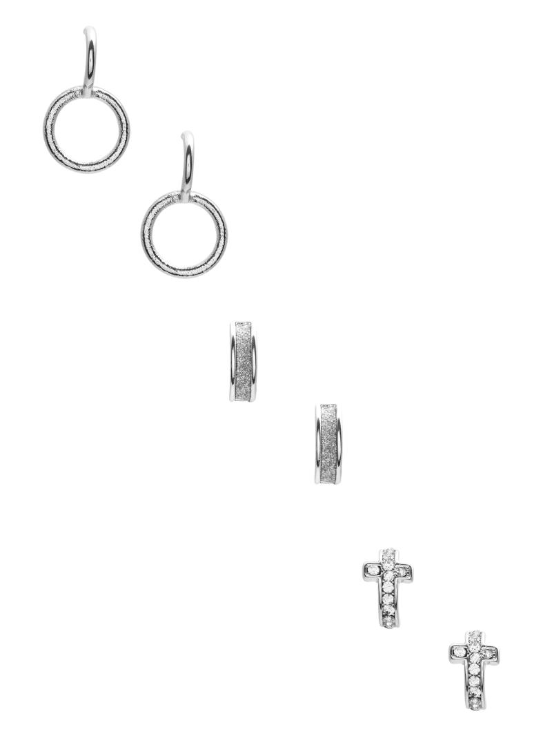 Cross And Hoop Stud Earrings Set