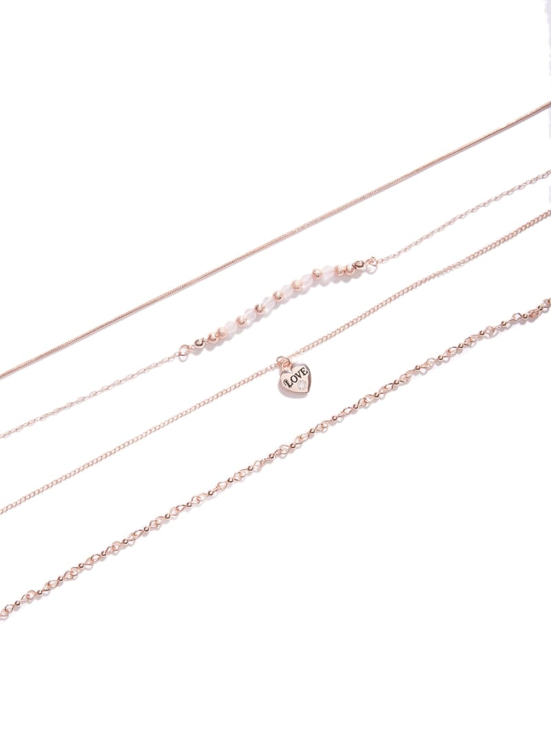 Rose Gold-Tone Beaded Rose Quartz Choker Set