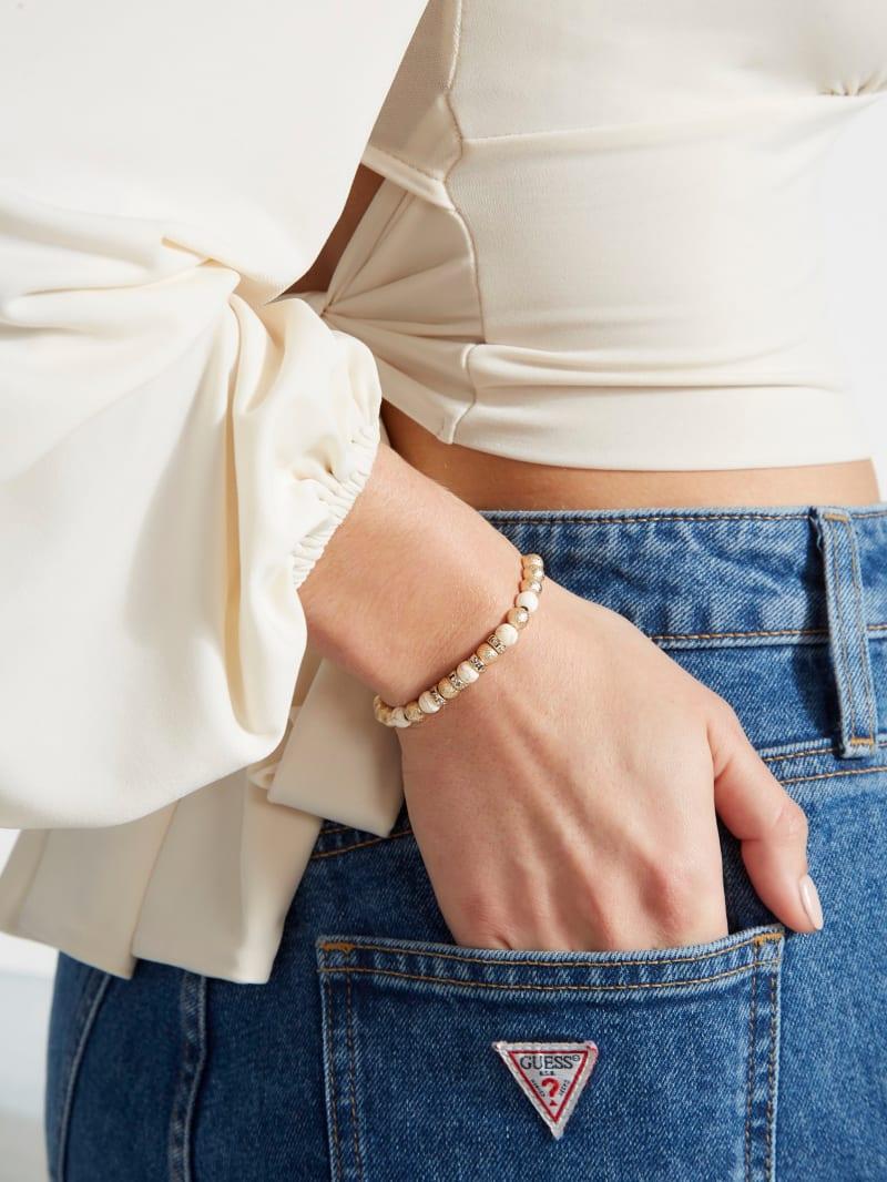 Semi Precious Gold-Tone Howlite Bracelet