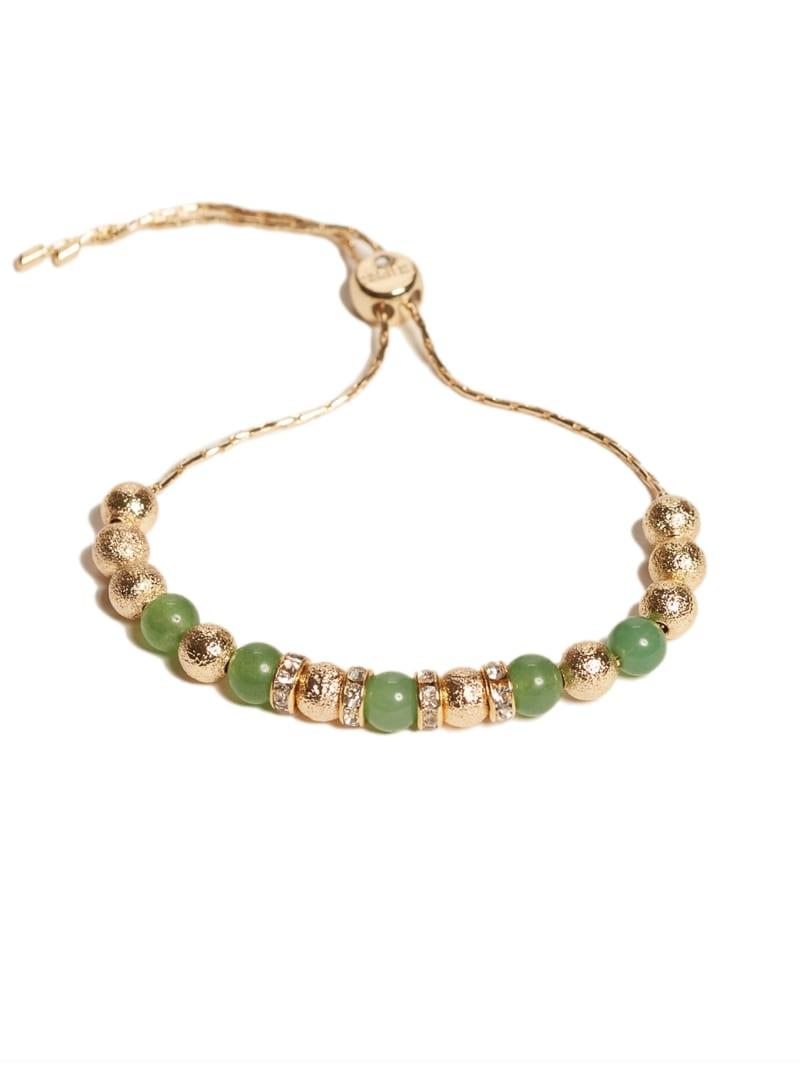 Gold-Tone Beaded Jade Bracelet