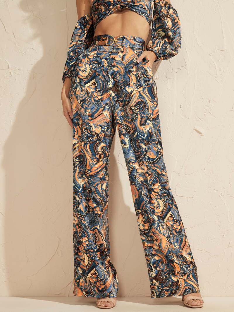 Slick Abstract Print Belted Pant