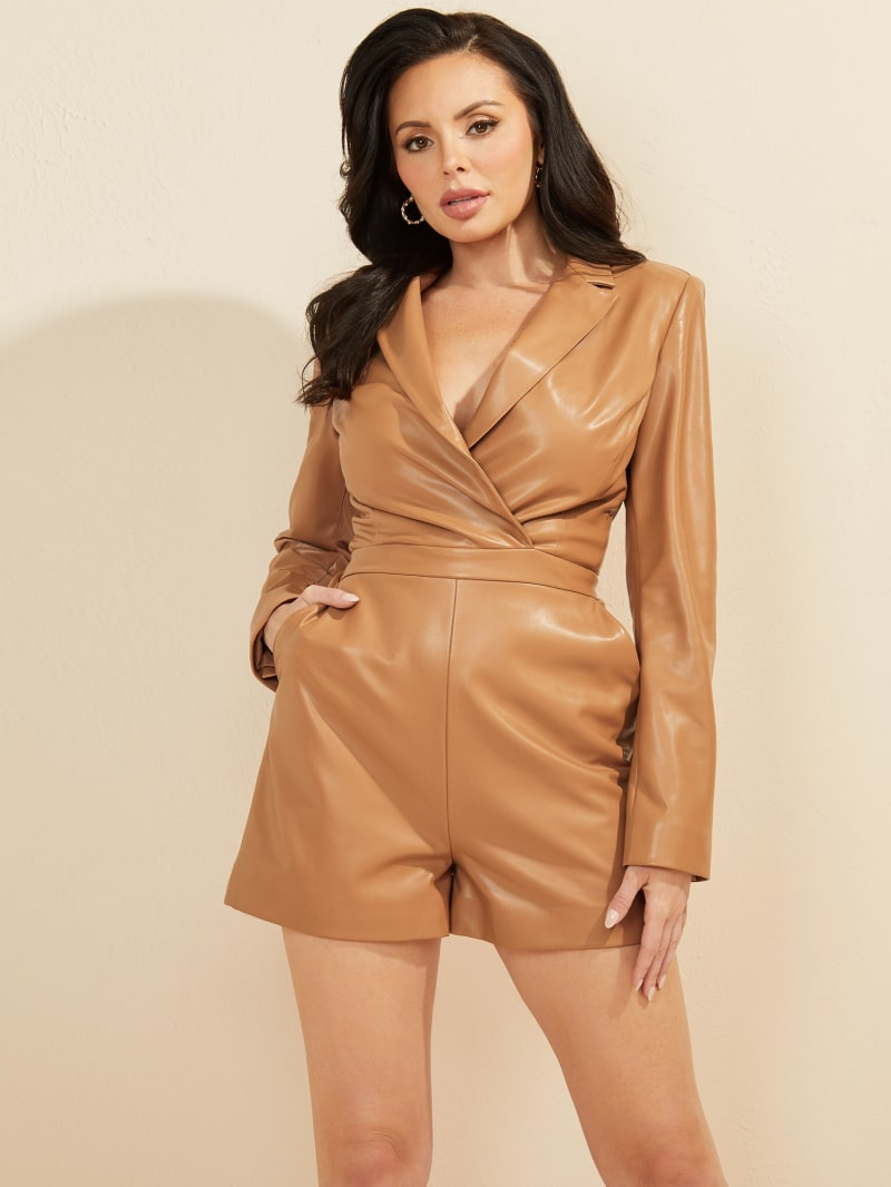 Daisy Faux-Leather Romper