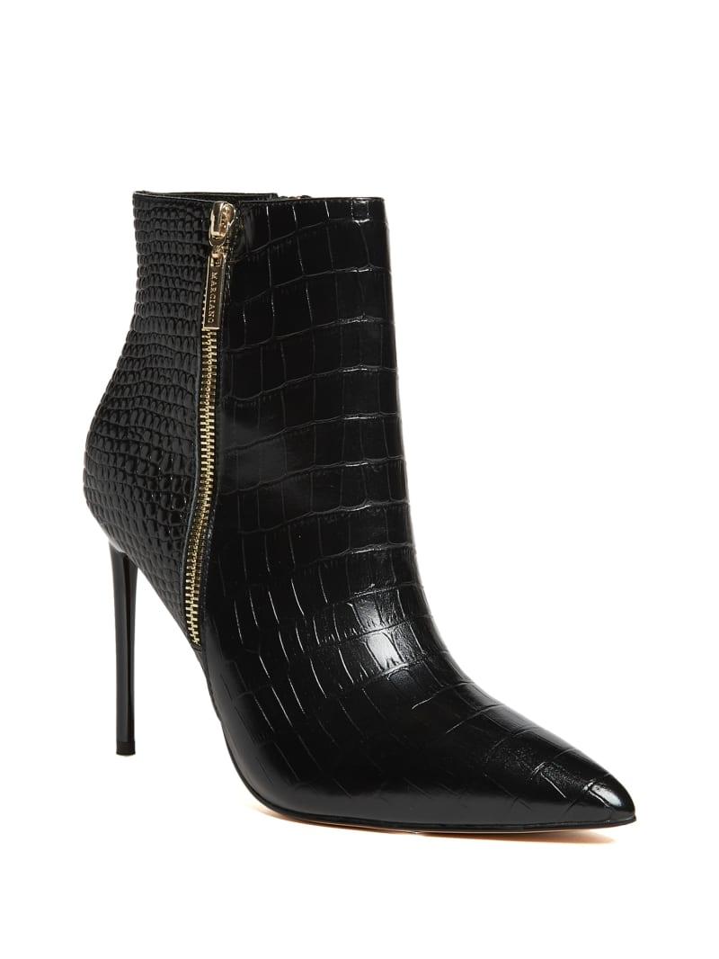 Croc Leather Zipper Bootie