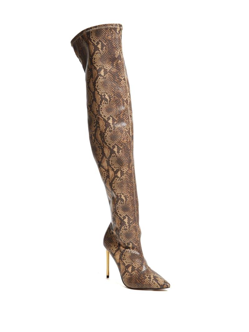 Over-the-Knee Python Heeled Boot
