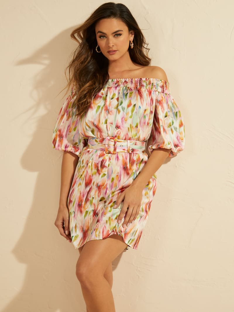 Watercolor Off-the-Shoulder Dress